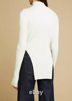 KHAITE Jacques Italian Viscose Mock Neck Long Sleeve Sweater Top in White size S
