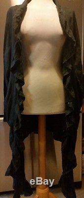 Kedem Sasson Black Linen Abstract Long Top With long Sleevs