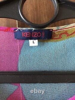 Kenzo Mesh Top Blouse Geometric multicolour Print Size L Vintage 90'S