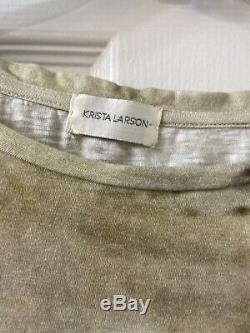Krista Larson Cotton Stone Printed Long Sleeve Blouse Top One Size
