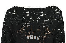 LANVIN $1,455 Ete 2015 Black Lace Boat Neck Long Sleeve Top M