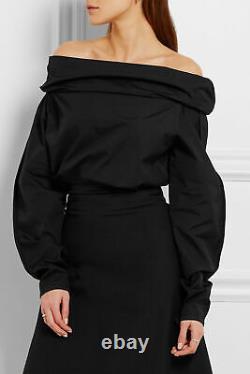 LEMAIRE Black Long Sleeve Cotton Off Shoulder Crop Draped Blouse Top 34/2