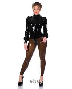 LIBIDEX Womens Black Latex/Rubber Long Sleeved Blouse Governess Top Size L