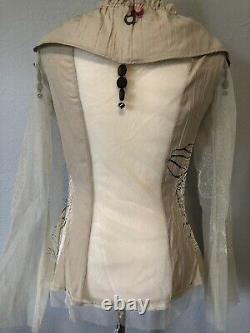 L Save The Queen mesh Shirt Tunic Dress Blouse Top Tee cream made in ITALY