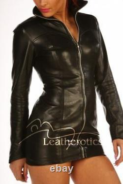 Lavish Black Real Leather Mini Dress Top Jacket Goat Nappa