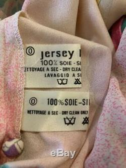 Leonard Paris 1970s Long Sleeve Pink and Yellow Floral Crop Top