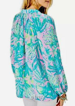 Lilly Pulitzer NWT Elsa Silk Top Mandevilla Baby Hip Nautic $158 Size XL