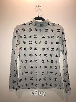 Long Sleeve Top with Chanel Logo Print