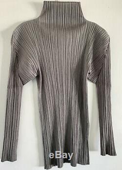 Long sleeve high neck gray Issey Miyake pleats please blouse top sz 3/uk12/ L