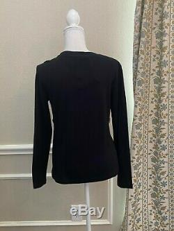 Louis Vuitton Blouse Top Women L Black Belted Bust Bow Long Sleeves LV Charm NWT