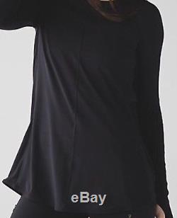 Lululemon Making Moves Long Sleeve Rulu Pleated Pleat Black Topsz12RARE