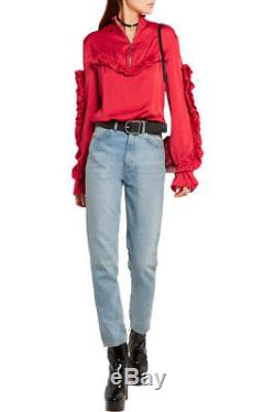 MAGDA BUTRYM Granada Red Silk Satin Ruffled Long Sleeve Zip Up Blouse Top 36/4