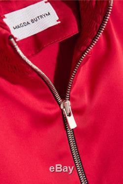 MAGDA BUTRYM Granada Red Silk Satin VE Ruffled Long Sleeve Zip Blouse Top 36/4