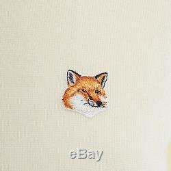 MAISON KITSUNE cream merino wool fox logo embroidery long sleeve sweater top XS