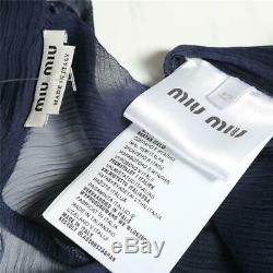 MIU MIU Navy Silk Sheer Long Sleeve Blouse Back Button-Up Neck-Tie Top Shirt 42
