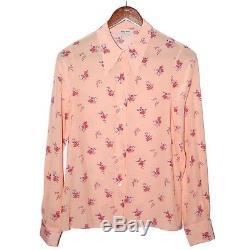 MIU MIU Pink Floral Silk Blouse Long Sleeve Button Down Top Tee Shirt Sz FR 36 S