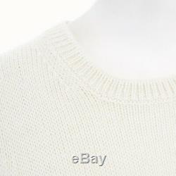 MIU MIU cream wool tiered ruffle silk hem long sleeve sweater top M