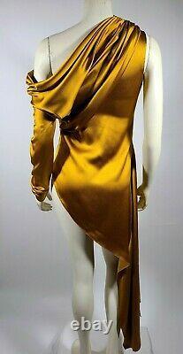 MONSE Mustard Yellow Silk One Shoulder Sleeve Top Blouse