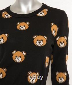 MOSCHINO Womens Black Teddy Bear Print Long Sleeve Crewneck Sweater Top M