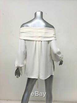 Magda Butrym Blouse Mons Cream Silk Size 34 Off-Shoulder Long Sleeve Top