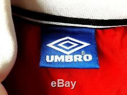 Manchester United Home Shirt 1998. Large. Umbro. Red Long Sleeves Top Only L