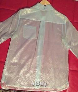 Marc Jacobs Blouse Shirt Top Silk size 8 Medium Blue Long Sleeve Iridescent