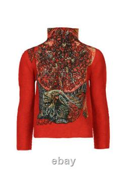 Me ISSEY MIYAKE POMEGRANATE AND CAT Pleated High Neck Long Sleeve Top Red