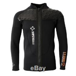 Mens 3mm Neoprene Long Sleeve Jacket Front Zipper Wetsuit Top Surfing Diving