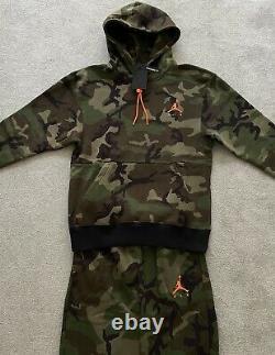Mens Nike Air Jordan Camo AJ Fleece Tracksuit SET Hoodie & Bottoms Casual SMALL