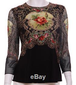 Michal Negrin Black Antique Baroque Style Roses Long Sleeves Shirt Blouse Top