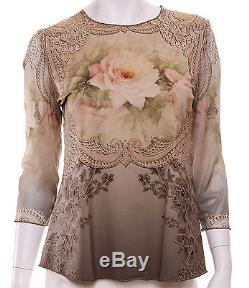 Michal Negrin Dusty Cream Victorian Style Roses Long Sleeves Blouse Top Shirt