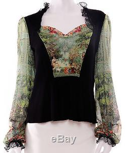 Michal Negrin Victoriana Panel Baroque Print Tulle Long Sleeve Shirt Blouse Top
