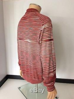 Missoni Mens Long Sleeve Polo T Shirt, Top, Size 54, XXL, Red, Immaculate