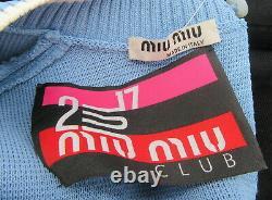Miu Miu Light Blue Synthetic Knit Long Sleeve Top sz 36