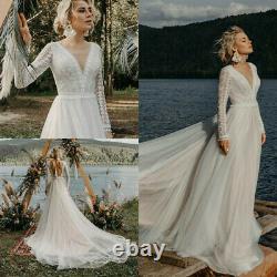 Modern Bohemian Wedding Dresses Backless Lace Top Long Sleeve Fairy Beach Gown