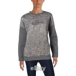 Moncler 5285 Womens Gray Metallic Long Sleeves Pullover Top Shirt M BHFO