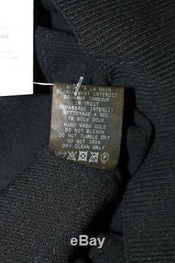 Mugler Black Stretch Knit Long Sleeve Embellished Top Size Medium New 111322