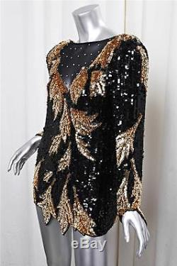 NEIMAN MARCUS SWEE LO Black+Gold Sequin+SILK Long Sleeve Shirt Top Blouse M