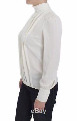 NEW $1100 DOLCE & GABBANA Blouse White Silk Stretch Long Sleeve Top IT38/ US4/XS