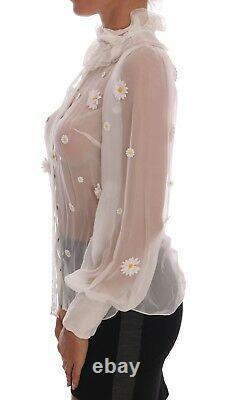 NEW $2480 DOLCE & GABBANA Blouse Top White Daisy Applique Silk Shirt IT38/ US4/S