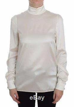 NEW $900 DOLCE & GABBANA Blouse White Silk Stretch Long Sleeve Top IT40 / US6/ S