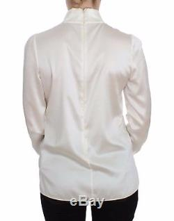 NEW $900 DOLCE & GABBANA Blouse White Silk Stretch Long Sleeve Top IT42 / US8/ M