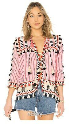 NEW Dodo Bar Or Striped Swim cover-up top Crew neck Long sleeves/ SZ S PINK/BLK