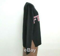 NEW FENDI Tops Long Sleeve Knit Sweater 40 Logo Wool Black Italy 13151303600 K