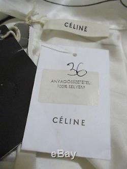 NEW! FR36 UK 8 10 CELINE cream silk long sleeve blouse shirt top long designer
