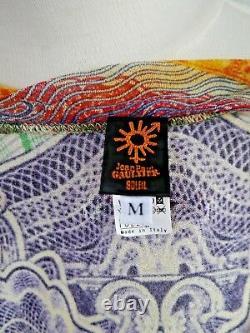 NEW JEAN PAUL GAULTIER SOLEIL JPG multi-color print stretchy mesh top size M