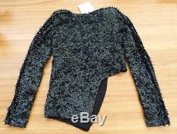 NEW Size 12 AJE Black Dame Bakir Sequin Long Sleeve Top $350rrp