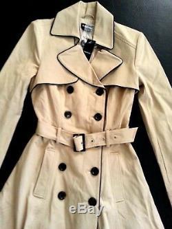 NEW bebe beige black belt long sleeve top dress flare trench coat jacket S Small