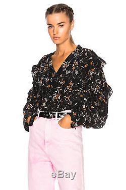 NWOT 38/4 $755 Isabel Marant Black Floral Sibel Long Sleeve Oversized Blouse Top
