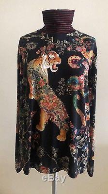NWOT $595 ETRO Tiger-Print Long Sleeve Turtleneck Top, Black IT 46 US 10